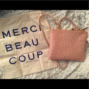 Clare V. Embossed leather pink bag